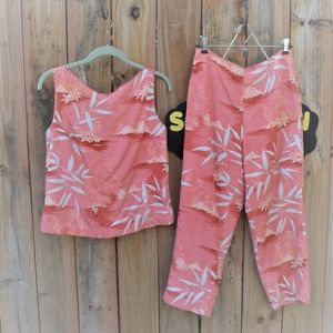 Tommy Bahama Matching Two Piece Silk Set Pants Top